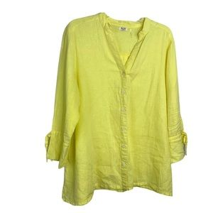 Symple NYC Size large 100% Linen 3/4 Sleeve Top